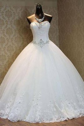 Sequined Zipper Up Satin Lace Court Train Wedding Dress