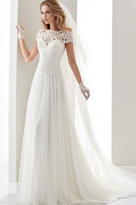 Tulle Capped Sleeves Hall Elegant & Luxurious Sashes Wedding Dress