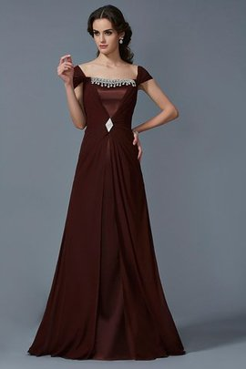 Long Short Sleeves Princess Chiffon Natural Waist Evening Dress