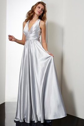 Floor Length Sleeveless Long Draped Sheath Prom Dress