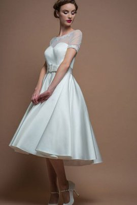 A-Line Short Sleeves Sashes Vintage Satin Wedding Dress