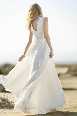 Deep V-Neck Scalloped-Edge Floor Length Beach Wedding Dress