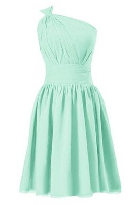 A-Line Zipper Up One Shoulder Natural Waist Short Bridesmaid Dress