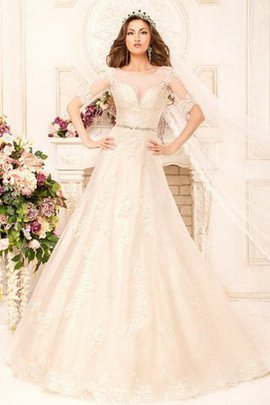 Floor Length Modest Beading Scoop Short Sleeves Wedding Dress