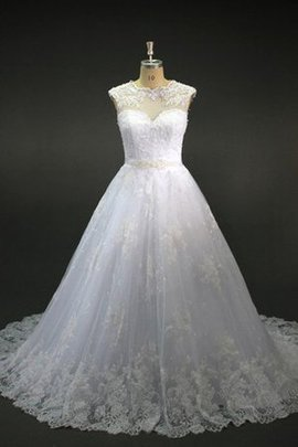 Capped Sleeves Jewel Beading Short Sleeves Lace Wedding Dress