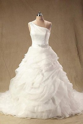 Sleeveless Organza Floor Length Lace Wedding Dress