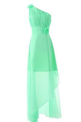 Zipper Up Pleated Chiffon Asymmetrical A-Line Bridesmaid Dress