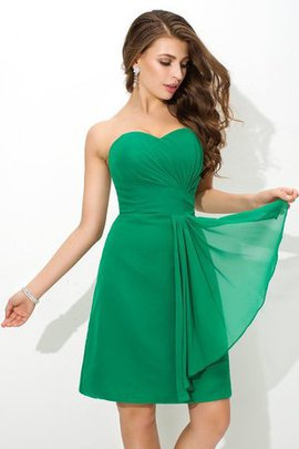 Sheath Zipper Up Short Pleated Chiffon Bridesmaid Dress