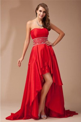High Low Strapless Taffeta Sleeveless Prom Dress
