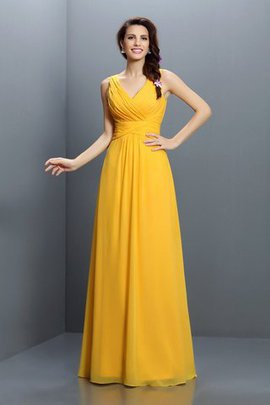 Floor Length Chiffon Pleated Long Sleeveless Bridesmaid Dress