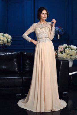 Chiffon Sweep Train Long Natural Waist Long Sleeves Mother Of The Bride Dress