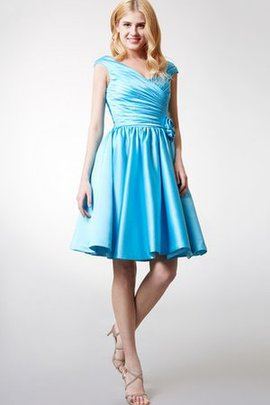 Zipper Up Informal & Casual Ruched Flowers Pleated Bridesmaid Dress