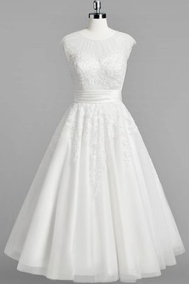 Tulle A-Line Capped Sleeves Lace Simple Wedding Dress
