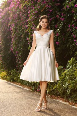 Natural Waist A-Line Satin Short Wedding Dress