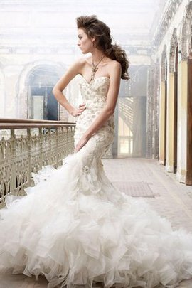 Embroidery Mermaid Backless Sweetheart Organza Wedding Dress