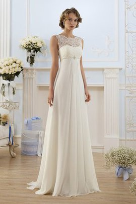 Chiffon Floor Length Romantic Lace Fabric Notched Wedding Dress