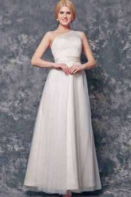 Tulle One Shoulder Vintage Sleeveless Long Bridesmaid Dress