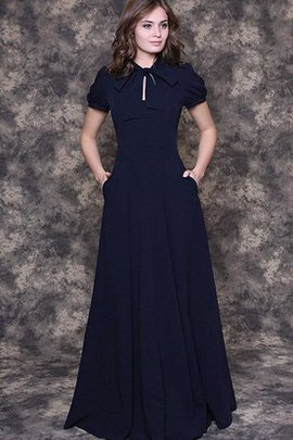 Bow Puffy Jewel Floor Length Short Sleeves Bridesmaid Dress