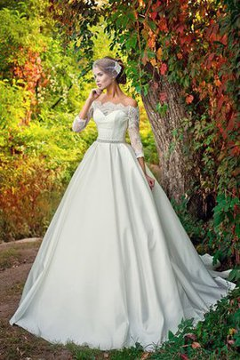 A-Line Notched Elegant & Luxurious 3/4 Length Sleeves Lace-up Wedding Dress