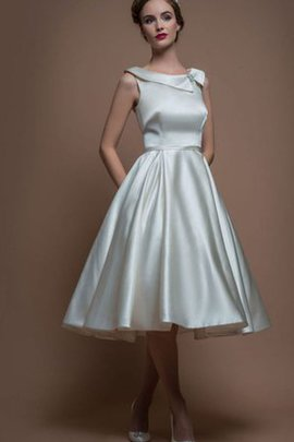 Satin Tea Length A-Line Bateau Modest Wedding Dress