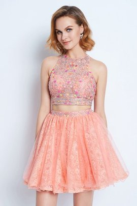 Short Jewel Princess 2 Piece Natural Waist Homecoming Dress