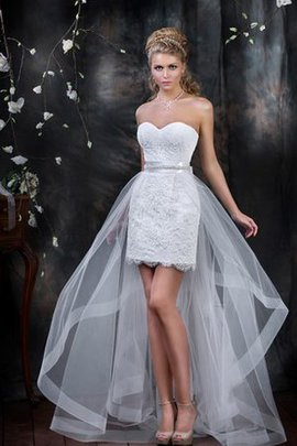 Draped Natural Waist Floor Length Lace Wedding Dress