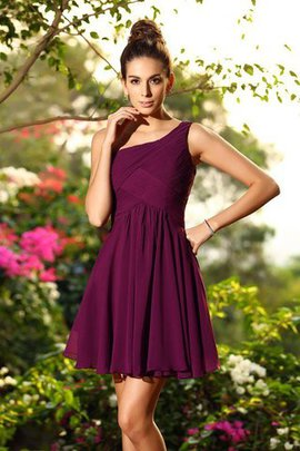 Natural Waist Zipper Up A-Line Short Draped Bridesmaid Dress