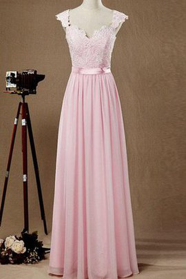 Lace Fabric Floor Length Short Sleeves Simple Capped Sleeves Bridesmaid Dress