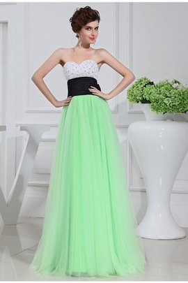 A-Line Satin Natural Waist Floor Length Zipper Up Prom Dress