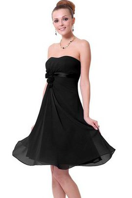 A-Line Ruched Chiffon Empire Waist Strapless Party Dress