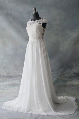 Capped Sleeves Lace Fabric A-Line Button Wedding Dress