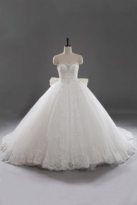 Pleated Natural Waist Floor Length Modest Sweetheart Wedding Dress