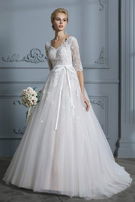 Vintage Zipper Up Lace Fabric Chic & Modern Tulle Shining Bow Wedding Dress