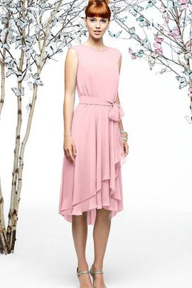 Capped Sleeves Chiffon Asymmetrical Tiered Bridesmaid Dress