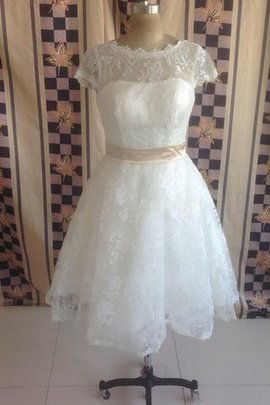 Tea Length Sashes Capped Sleeves Lace Fabric Zipper Up Wedding Dress