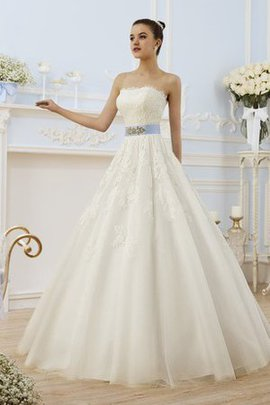 Long Natural Waist Appliques Lace Fabric Strapless Wedding Dress
