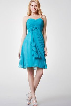 Zipper Up Sweetheart Chiffon Ruffles A-Line Bridesmaid Dress