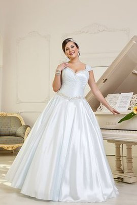 A-Line Natural Waist Capped Sleeves Satin Plus Size Wedding Dress