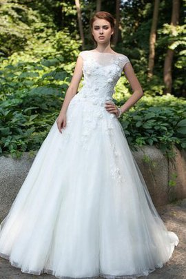 Capped Sleeves Natural Waist Tulle Floor Length Deep V-Neck Wedding Dress