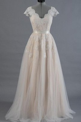 V-Neck A-Line Short Sleeves Vintage Informal & Casual Wedding Dress