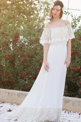 Chiffon A-Line Short Sleeves Romantic Off The Shoulder Wedding Dress