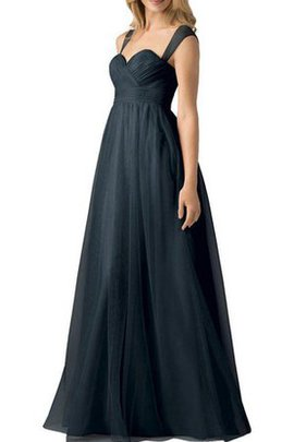 Capped Sleeves Tulle Long Ruched Floor Length Bridesmaid Dress