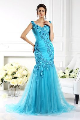 Sleeveless Wide Straps Sweep Train Empire Waist Long Evening Dress
