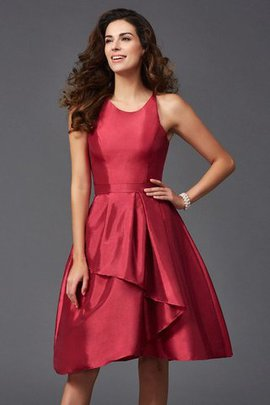 Zipper Up Scoop Ruffles Knee Length Princess Bridesmaid Dress