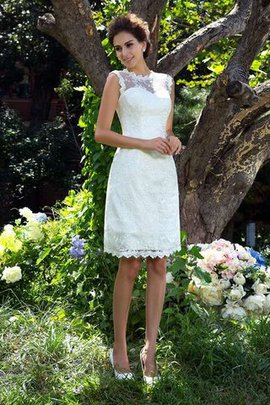 Appliques Satin Knee Length Sleeveless Wedding Dress