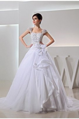 Empire Waist Ball Gown Beading Lace-up Wide Straps Wedding Dress