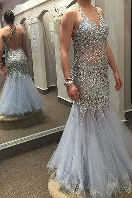 Sleeveless Natural Waist Sequined Sequins V-Neck Prom Dress