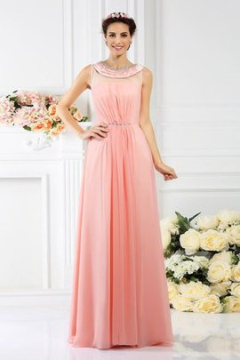 Zipper Up Chiffon Beading Floor Length Princess Bridesmaid Dress