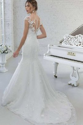 V-Neck Flowers Beading Capped Sleeves Sweep Train Wedding Dress