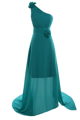 Chic & Modern Asymmetrical Neck Princess Church Fancy Bridesmaid Dress